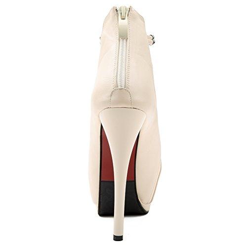 fereshte Women's Faux Patent Leather Sexy Peep-Toe Stiletto Sandal Platform High Heel Hollow Party Pump White sx4onZ