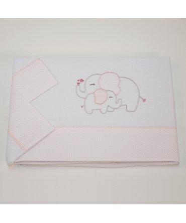 10XDIEZ Juego DE SÁBANAS Cuna Franela Elefante Blanco/Rosa - Medidas sabanas bebé - Minicuna (50x80cm)
