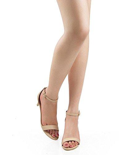 Strap 7 2 Faux Pumps Pu Ankle ROF Kitten D'Orsay 5 Beige Heel Women's Inch 5 Leather Heel wXSxqzT