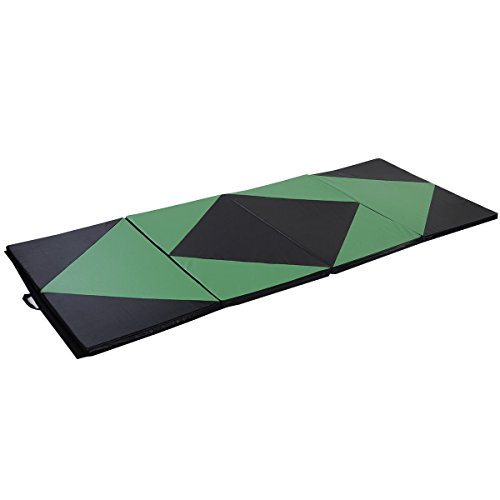 Gymnastics Exercise Mat 4'x10'x2 Green&Black Thick Folding Panel Aerobics Gym Fitness with Ebook