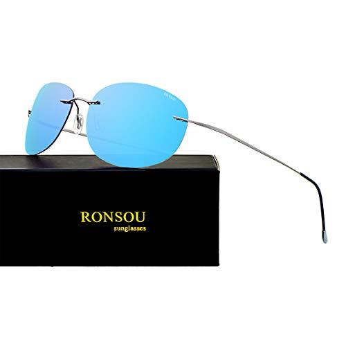(Ronsou Ultra-light Rimless Pure Titanium Colorful Fashion Polarized Sunglasses for Men and Women Gray Frame Blue Lens (Mirrored))