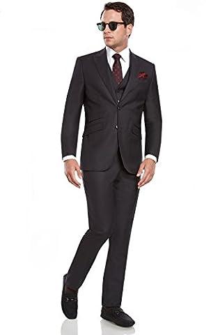 Mens Slim Fit Peak Lapel 3 Piece Suit Set /w Ticket Pocket Designed by Taheri, Charcoal, US 42R / EU 52R / Waist - Uomo Mens Fashion