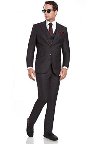 Mens Slim Fit Peak Lapel 3 Piece Suit Set /w Ticket Pocket Designed by Taheri, Charcoal, US 40L / EU 50L / Waist 34 (40l Mens 3 Piece Suit)