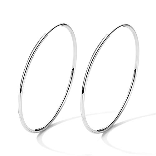 (T400 925 Sterling Silver Hoop Earrings Large and Small Thin Lightweight Hoops ♥ Birthday Gift for Women 25 35 40 45 50 55 60 65 mm)