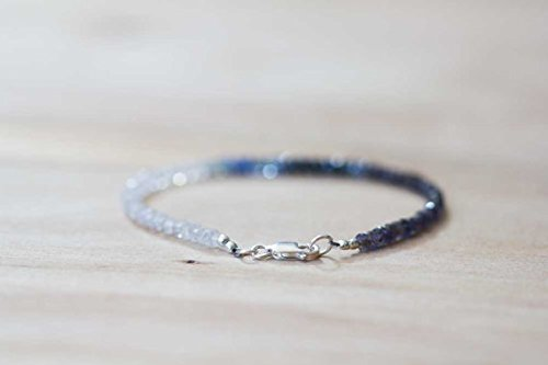 Rainbow Moonstone, Iolite & Sapphire Bracelet, Delicate Shaded Blue Sapphire Jewelry, Sterling Silver Rose Gold Fill Moonstone Bracelet 3-3.5mm 7 inches ()
