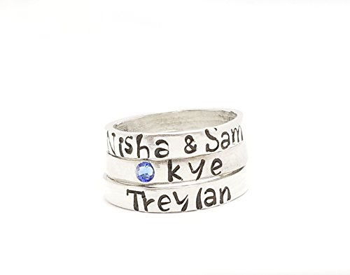 Personalized Stackable Stacking Name Ring Tiny - Lovers Name Ring - Hand Stamped Custom Name Ring, Personalized Ring, Girlfriend Boyfriend Name Personalized Name Ring Hypoallergenic Stainless ()