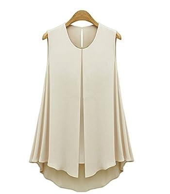 2017 Summer Ruffles Fashion Shirt Tops Sleeveless O-neck Casual Women Shirt Blue Apricot Women Chiffon Blouse Blusas Color: Apriot Size:L