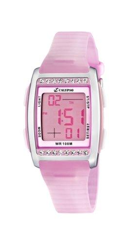 Calypso K6053/2 - Reloj digital de mujer de cuarzo con correa de plástico rosa (luz, cronómetro, alarma) - sumergible a 100 metros: Amazon.es: Relojes