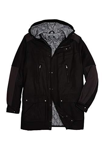 KingSize Men's Big & Tall Wool Parka, Black - Wool Mens Parka