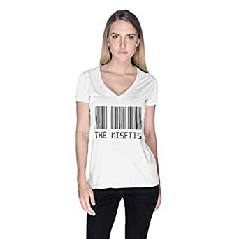 Creo White Cotton V Neck T-Shirt For Women
