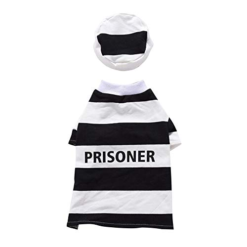 D-ModernPet Dog Costume - Pet Prisoner and Policeman Cosplay Costumes for Halloween Christmas Sweater Suit Clothes for Dogs Cats Costume for a cat -