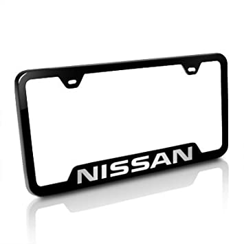 nissan black stainless steel license plate frame