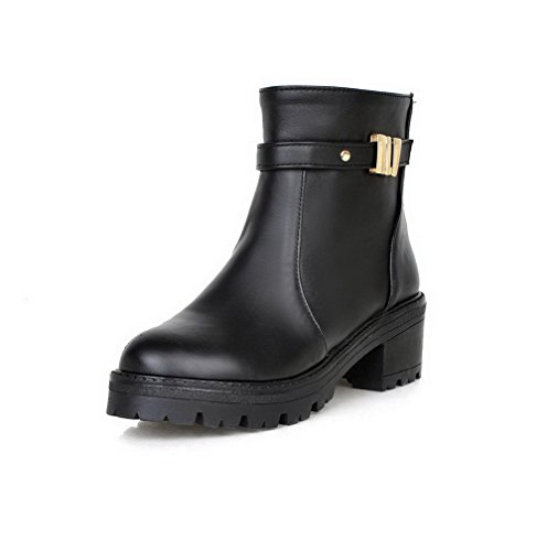 AllhqFashion Women's PU Low-top Solid Pull-on Kitten-Heels Boots
