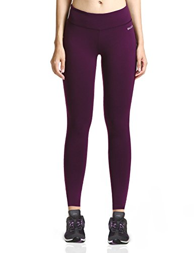 Baleaf Women's Ankle Legging Inner Pocket Non See-Through Dark Magenta Size M