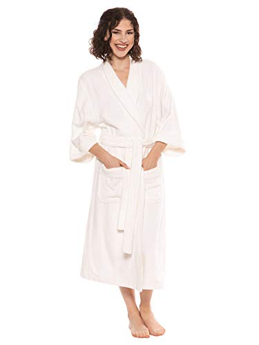 Terry Cloth Bathrobe Robe for Women Christmas Gift Ideas Presents for Mom Wife Girlfriend Xmas Holiday Gifts - Women's 0050 L/XL, White (For Gifts Girlfriend Christmas Your)