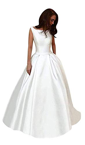 ElenaDressy Women's A Line Scoop Neck Long Satin Prom Dress Evening Party Gowns,White 14