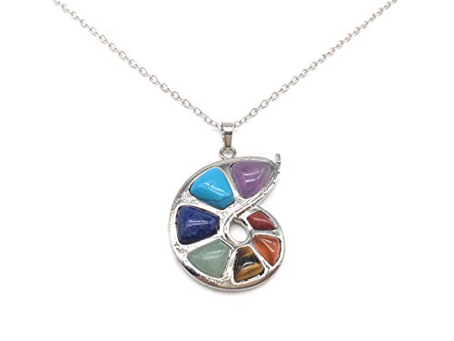 xinpeng 24 inch 7 Chakra Natural Stone Gemstone Necklace Pendant Conch Shape Healing Point Reiki Energy Balancing Crystal Jewelry for Women Girls