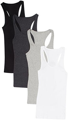 Zenana Outfitters 4 Pack Womens Ribbed Racerback Tank Top BLACK/WHITE/HGREY/CHARCOAL S