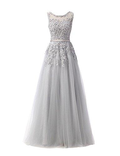Spitze Izanoy Ärmellos Applikationen Abendkleid Grau Brautjungfer Ballkleider Damen Kleid Lange SIwrqWOUI