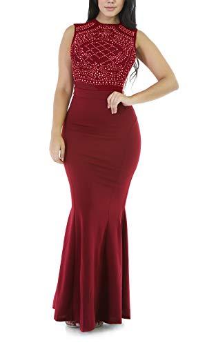 PRETTYGARDEN Women's Long Fitted Beading Sleeveless Mermaid Evening Gown -