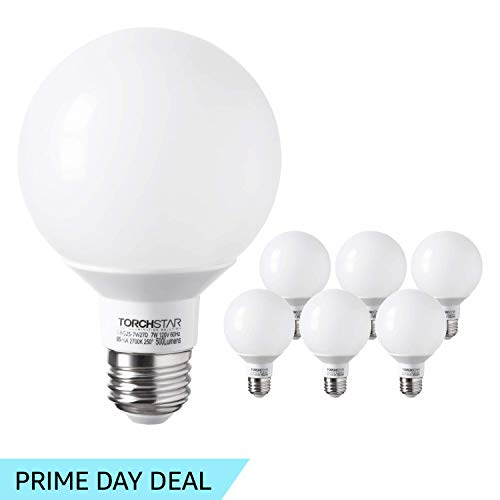 - TORCHSTAR G25 Globe led Bulb Dimmable 7W 60W Equiv, Vanity Style Warm White 2700K for Makeup, Pendant, Bathroom, Dressing Room Decorative Light, 3 Years Warranty, Pack of 6