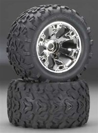 Maxx Tires 6.3quot; Geode Chrome Wheels Assembled#44; Glued#44; Fits E-Maxx Brushless- TRA5674