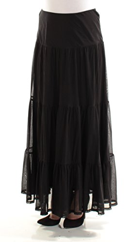 Lauren Long Skirt Skirt - Lauren Ralph Lauren Womens Soundarya Mesh Tiered Maxi Skirt Black M