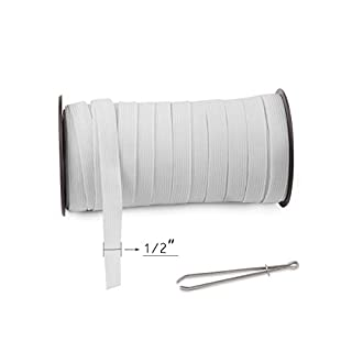 "White 40-Yards Length 1/2"" Width Baraded Elastic Cord/Elastic Band/Elastic Rope/Bungee/White Heavy Stretch Knit Elastic Spool(White)/Bedspread Band"