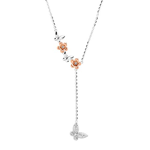 (Crystaluxe Two-Tone Butterfly Lariat Necklace with Swarovski Crystals in Sterling Silver)