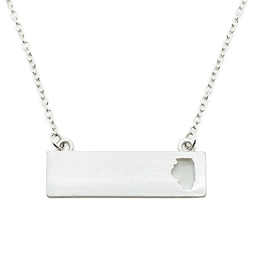 Prairie Girl Costume Ideas (Patriotic United States: State-Shaped Rectangular Cut-Out Pendant Necklace: Illinois Silver-Tone)