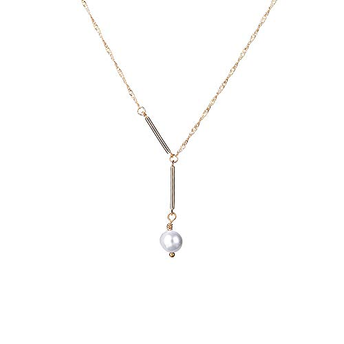 - IEFSHINY Chockers Necklaces for Women Gold Chocker - 14K Gold Plated Dainty Bar Pendant Choker Minimal Gold Chain Clavicle Necklaces Jewelry Birthday for Mom Daughter Wife