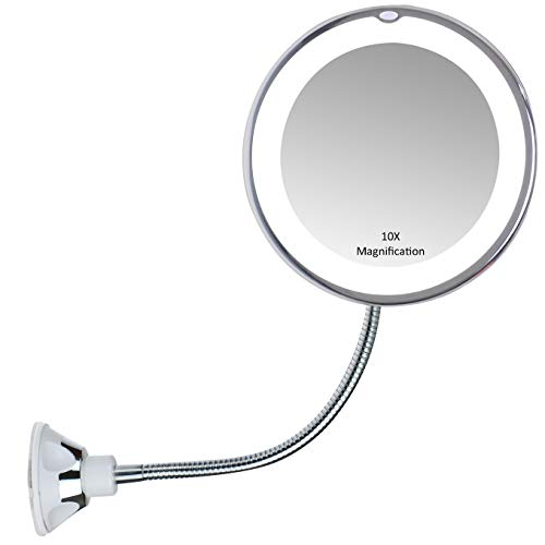 Gooseneck Magnifying Mirror Lighted 10x Makeup Bathroom