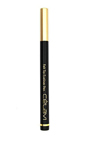 Celavi Waterproof Precision Liquid Felt Tip Eyeliner Pen, Black, .08 Oz