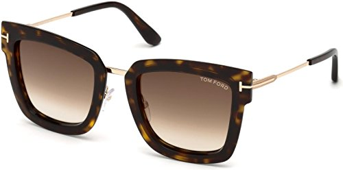 2018 Tom Ford Lara-02 FT0573 Women Dark Havana & Gold Square T Logo - Sunglasses Square Ford Tom