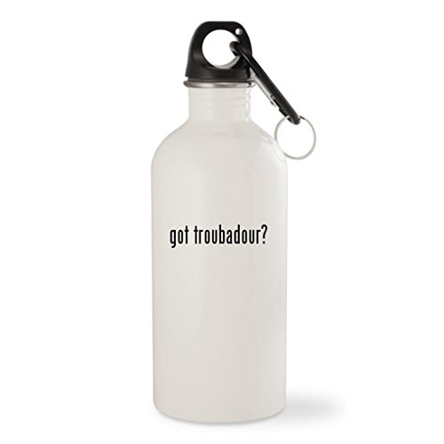 got troubadour? - White 20oz Stainless Steel Water Bottle with Carabiner