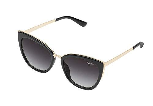 QUAY Australia Honey Sunglasses in Black Frame, Smoke Lens, One Size
