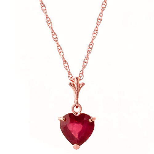 Galaxy Gold 14K Solid Rose Gold High Polished Finish Pendant Necklace with 1.45 ct Heart-Cut Natural Ruby Valentines Gift Women Birthday Christmas Easter Spring Summer Fine Jewelry (18)