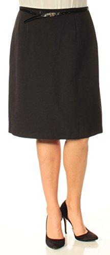Tahari $280 Womens New 1135 Black Belted Below The Knee A-Line Skirt 14 B+B