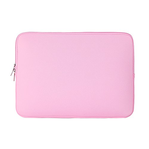 RAINYEAR 15 Inch Soft Neoprene Laptop Sleeve Case Slim Padded Computer Sleeve Bag Cover For 15-15.4 Inch Macbook Pro Notebook Ultrabook,HP Lenovo Dell Acer Samsung Asus ThinkPad(Pink)