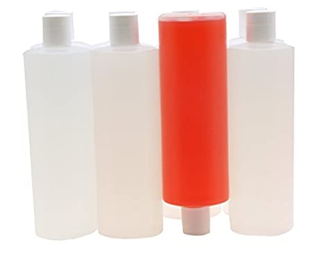 16 Ounce Squeeze Bottles with Disc Top Flip Cap, 8 Pack of Empty Plastic Containers for Shampoo, Soap, Lotion, Body Wash and More that are Durable, Portable, Reusable and Leak (16 Oz Plastic Cylinder Bottles)