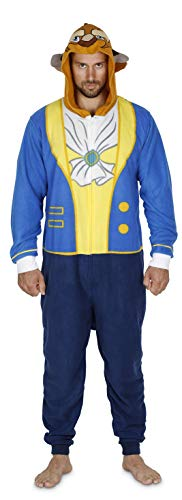 Disney Beast Men Hooded Union Suit Pajama Costume, Beauty and The Beast, Size L/XL