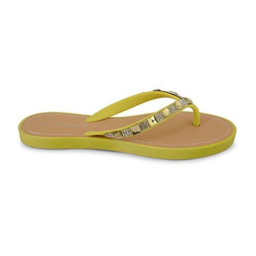 para verde Sandalias Amarillo mujer Sensation Footwear 7q0wSS