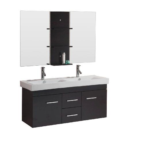 Virtu USA UM-3067-C-ES Opal 48-Inch Wall-Mounted Double Sink Bathroom Vanity with Integrated Ceramic Basins, Faucets, Espresso (Hardwood Wall Unit)