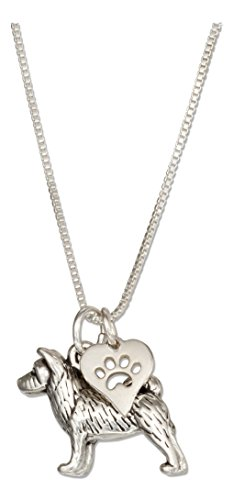 Sterling Silver 18 inch Akita Pendant Necklace with Dog Paw Print Heart Charm ()