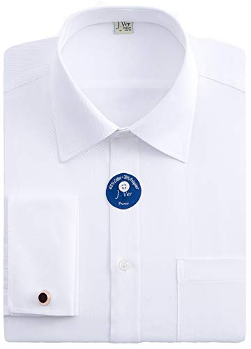 - J.VER Men's French Cuff Dress Shirts Regular Fit Long Sleeve Spead Collar Metal Cufflink White - Color:White, Size: 16