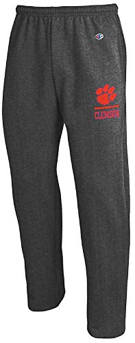 Champion Clemson Tigers Adult Charcoal Open Bottom Powerblend Sweatpants (Large)