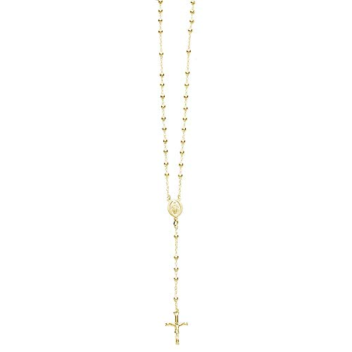 (Sterling Silver Gold-tone 4mm Rosary Bead Necklace Virgin Mary Cross Made in Italy (24 Inches))
