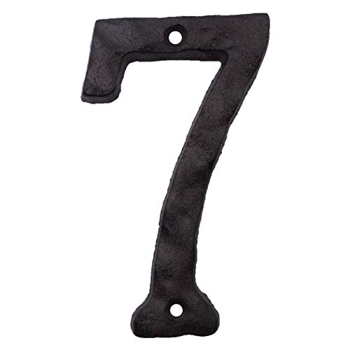 Cast Iron House Numbers- 6 Inch Rustic Address Number- Solid & Heavy Duty/Easy Install with Matching Screws Number 7