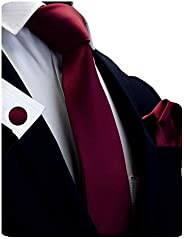 """GUSLESON 3.15""""(8cm)Solid Color Necktie and Pocket Square Cufflinks Sets For Men + Gif"""