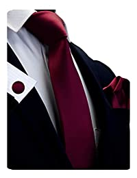 """GUSLESON 3.15""""(8cm)Solid Color Necktie and Pocket Square Cufflinks Sets For Men + Gift Box"""
